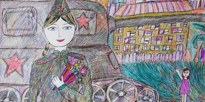 Мальцева Виктория 10 лет ЦДШИ Встреча гелевые ручки пр Горюткина ЖВ