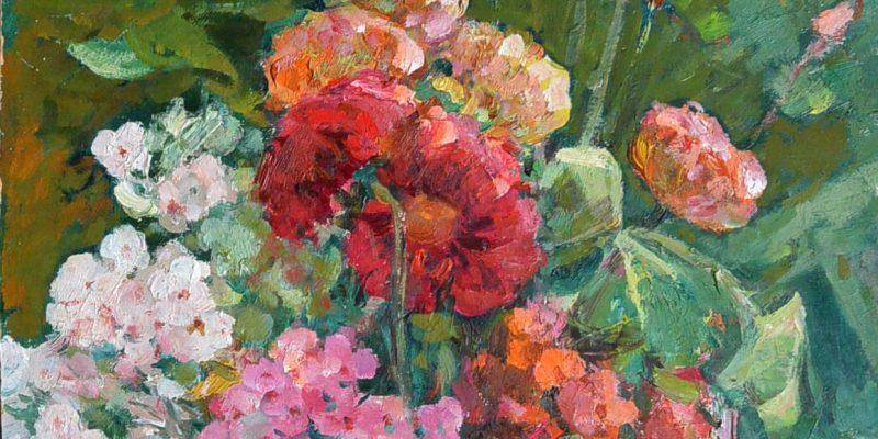 Любимые цветы, картон, масло, 80-е годы