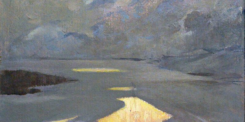 Над сибирской рекой, картон, масло, 80-е годы