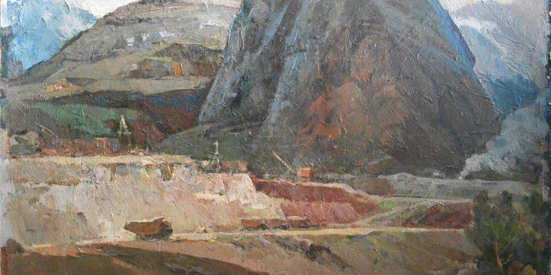 Рудные горы, картон, масло, 70-е годы